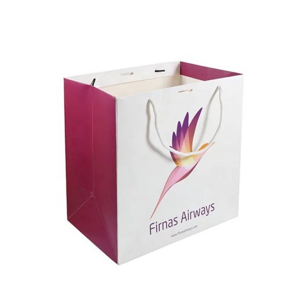 White paper bag with gusset printed