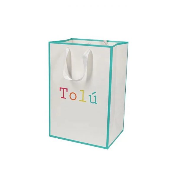 white gift bag with ribbon handle